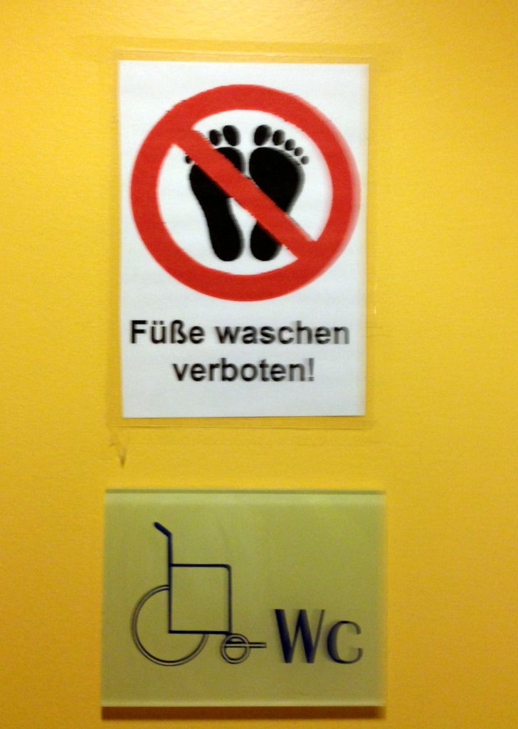 Füße waschen verboten